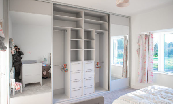 Light Grey Sliding 4 Door Wardrobe